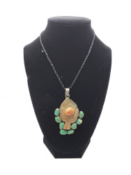 Lady Bug on Leaf - Jade & Turquoise Pendant