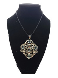 Blue Crystal Fancy Filigree Pendant