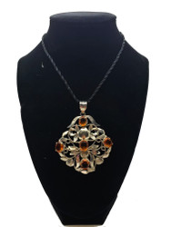 Amber Crystal Filigree Pendant
