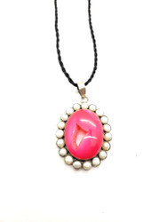 Pink Sparkle Druzy Pendant with Pearls
