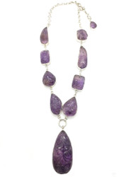 Carved Leaves on Amethyst Necklace