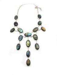 Blue Fire Raindrops Necklace