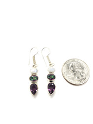 Moonstone, Mystic Topaz & Amethyst Conductive Silver Earrings