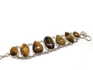 Faceted Tigers Eye Conductive Silver  Bracelet