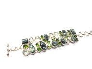 Seraphinite, Peridot and Clear Quartz Conductive Silver Bracelet