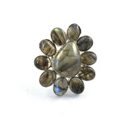 Labradorite Shimmer Daisy Adjustable Ring