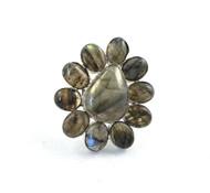Labradorite Shimmer Daisy Adjustable Ring