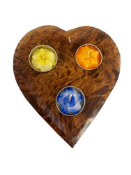 Mango Wood Heart Candle Holder