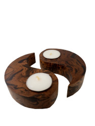 Mango Wood Yin Yang Candle Set