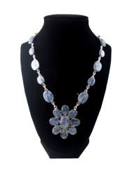 Kyanite Blue Siren Flower Necklace