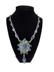 Flowers by the Sea Lapis and Emerald Necklace
