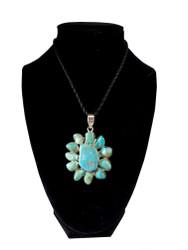 Turquoise Sun Flower Pendant