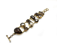 Smokey Quartz in Brass & Conductive Silver Bracelet