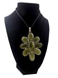 Green Garnet Flower Pendant
