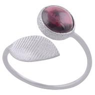 Adjustable Shimmering Leaf Ring