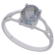 Petite Faceted Blue Topaz Ring