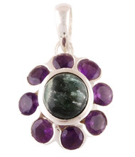 Sparkly Sun Amethyst and Seraphinite Pendant