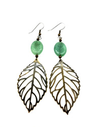Nature's Gemstone and Brass Leaf Earrings