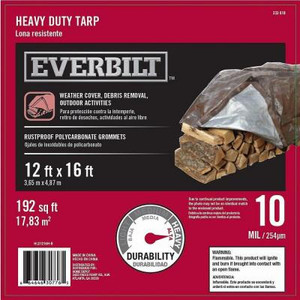 Everbilt 12 ft. x 16 ft. Silver and Brown Heavy Duty Tarp