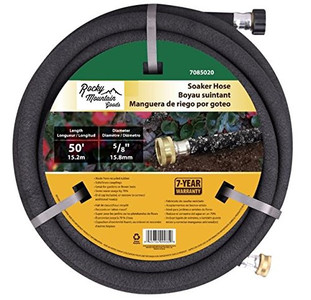 Rocky Mountain Goods Soaker Hose - Heavy duty rubber - Saves 70% water - End cap included for additional hose connect - Great for gardens / flower beds - Reinforced fittings (50-Feet by 5/8-Inch)