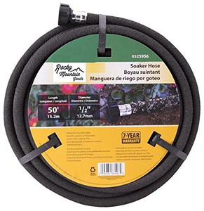 Rocky Mountain Goods Soaker Hose - Heavy duty rubber - Saves 70% water - End cap included for additional hose connect - Great for gardens / flower beds - Reinforced fittings (50-Feet by 1/2-Inch)