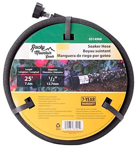 Rocky Mountain Goods Soaker Hose - Heavy duty rubber - Saves 70% water - End cap included for additional hose connect - Great for gardens / flower beds - Reinforced fittings (25-Feet by 1/2-Inch)