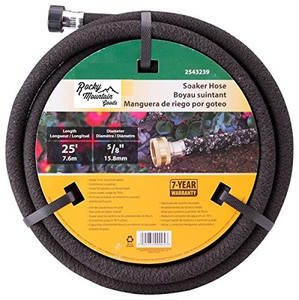 Rocky Mountain Goods Soaker Hose - Heavy duty rubber - Saves 70% water - End cap included for additional hose connect - Great for gardens / flower beds - Reinforced fittings (25-Feet by 5/8-Inch)