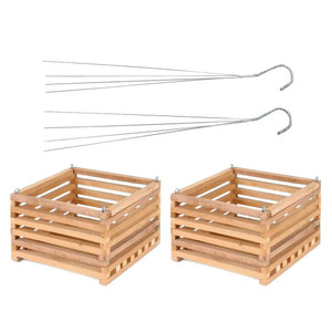 Better Gro Wooden Square Hanging Baskets 2 Pack - 10 Inch