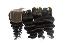 Brazilian Human Hair 4*4 closure + 3pcs bundles Deep Wave Weave