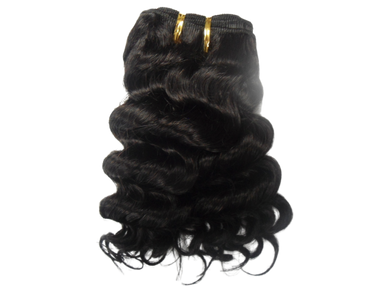"10"" Brazilian Human Hair Jerry Curl Weave Color 1B Natural Black"