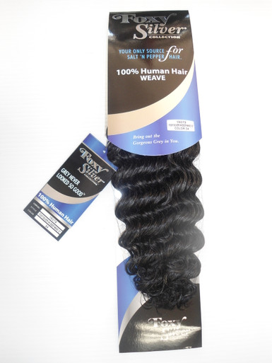 "12"" Salt n' Pepper 100% Human Hair Deep Wave Weave Track Grey Color 34"