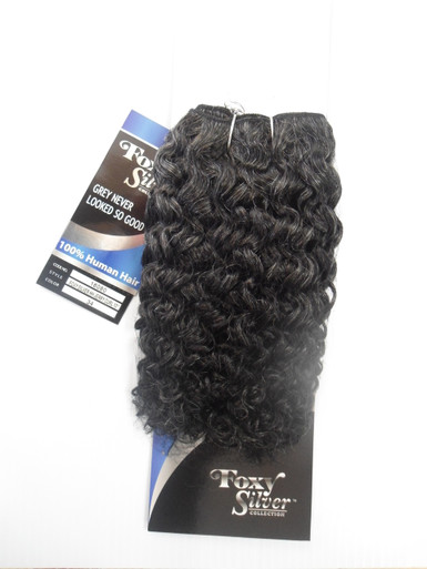 "10"" Salt n' Pepper 100% Human Hair Jerry Curl Weave Track Grey Color 34"