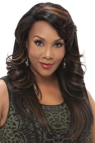 Vivica A Fox Long Synthetic Hair Lace Front Wig Side Curly Jennifer - Heat OK
