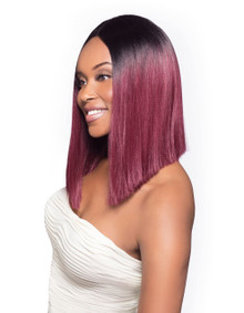 Foxy Lady Front Lace Fusion heat Synthetic Full Wig - Hera RT1BBurg Reddish Color [As Shown]