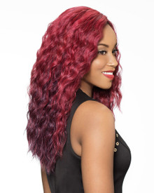 Foxy Lady Front Lace Fusion heat Synthetic Full Wig - Hart OM1BRED Color [As Shown]