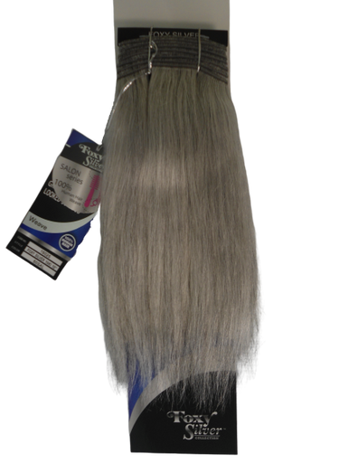 """FoxySilver 10"""" 100% Human Hair Straight Weave Track Color 60 Silver Grey"""
