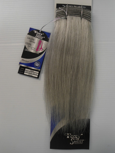 "Foxy 10"" Salt n' Pepper 100% Human Hair Straight Weave Track Color 60 Silver Grey"