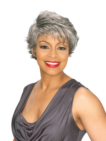 Foxy Silver Synthetic Full Wig -Teri- Pixie Style Salt n Pepper Grey