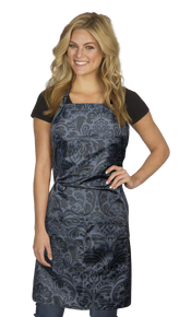 724 Damask Apron Adjustable Neck & Waist Ties Fits Most; Black/Grey
