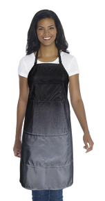 480 Ombre Apron Adjustable Neck & Waist Ties Fits Most; Black/Grey