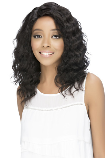 "17"" Lace Front Wig  Layered Deep Wave w/Side Invisible Part Jaylyn"