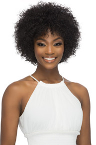 "11"" Pure Stretched Cap Natural Short Afro Water Wave Wig Harlee"