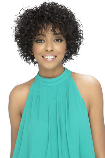 "Vivica A. Fox 10"" Pure Stretched Cap Natural Short Layered Spiral Curl Wig Jasper"