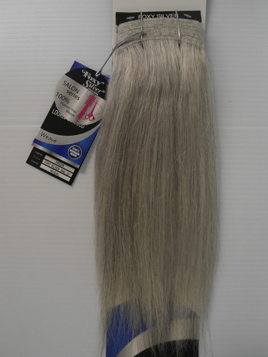 """FoxySilver 12"""" 100% Human Hair Straight Weave Track Color 60 Silver Grey"""