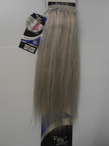 """FoxySilver 14"""" 100% Human Hair Straight Weave Track Color 60 Silver Grey"""