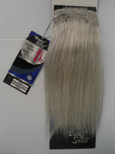 """FoxySilver 8"""" 100% Human Hair Straight Weave Track Color 60 Silver Grey"""