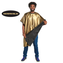 "Scalpmaster 24K Gold Tone Reversible Cape 45"" x 60"" Adjustable"