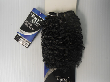 "10"" Salt n' Pepper Human Hair Blend Jerry Curl Weave Track Grey Color 34"