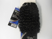 "10"" Salt n' Pepper Human Hair Blend Jerry Curl Weave Track Grey Color 280"