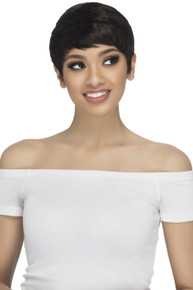 Short Human Hair Pure Stretched Cap Natural Layered Pixie Cut Wig Annie